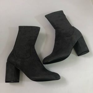 Halogen Dark Grey Stretch Sock Boot Hajacy-Fab